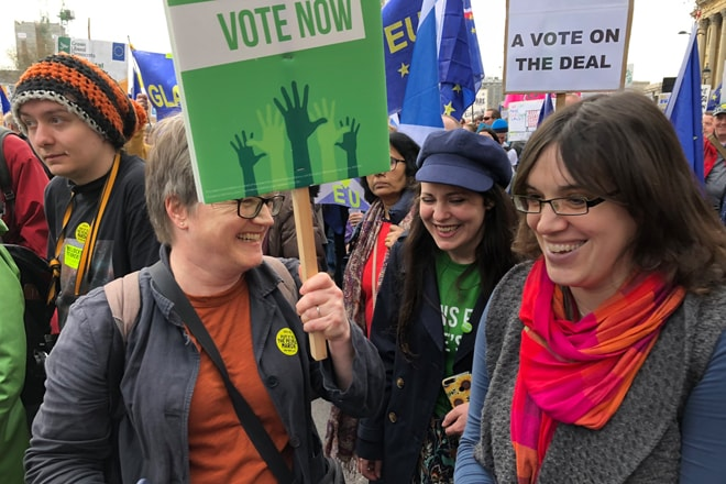 Isle of Wight Green Spokesperson, Vix Lowthion, with other prominent Greens, at a pro-European Union rally